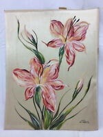Vintage Flower Art Painting Signed H. Taber Fabric Ornate Detailing