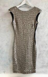 NEW - ZARA Silver Sequin Bodycon Party Nightclub Glitter Xmas Slip Dress Small