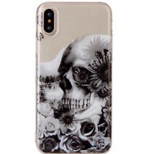 for Apple iPhone X - TPU Rubber Gummy Skin Case Cover Clear Black Skull Roses