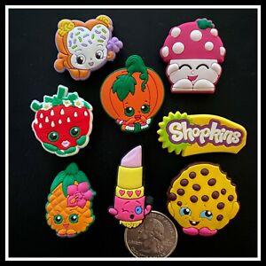 SET of 8 Shoe Charms for Crocs SHOPKINS Strawberry Kooky Cookie Lippy Mushroom