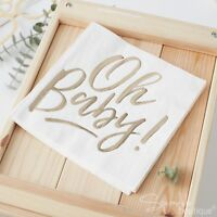 'OH BABY!' BABY SHOWER NAPKINS - White/Metallic Gold -FULL PARTY RANGE IN SHOP
