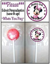 24 Minnie Mouse Clubhouse Birthday Party Lollipop Sticker Invitation Seal Favors