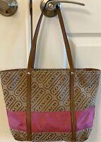 Coach Signature Lozenge Tote Shoulder Bag Brown Pink With Wallet & Wristlet Good