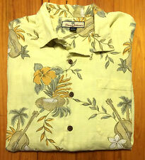 Tommy Bahama Camp Hawaiian Shirt - Floral - Large - Nast Island Beach Silk