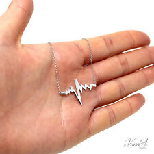 Sterling Silver 925 Heartbeat Necklace Heartbeat Pulse pendant Necklace N09