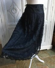 Vintage Richards Skirt - 1980s Black Lace, Drop Waist, Size UK 10