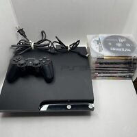 Sony Playstation 3 PS3 Slim Console Bundle + 9 Games All Cords Tested