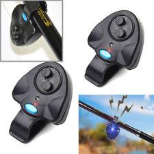 2PCS Electronic Fish Bite Sound Alarm LED Indicator Bell Alert Clip On Rod Black