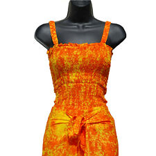 Orange Yellow Tie Dye Wrap Pants with Shirred Top One-Size Beach Wear