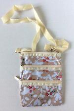 EUC LeSportSac Crossbody Purse Bag 3 Zipper Compartments Floral Print Tan Nylon