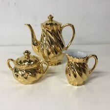 Avondale China Australia Gold Porcelain Tea Pot Creamer & Sugar Bowl Set #710