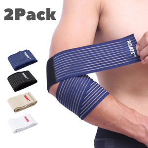 Heavy Duty Elbow Sleeves Support Wraps Straps Gym Power Weight Lifting Pair Wrap