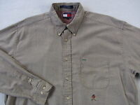 Tommy Hilfiger Mens L/S Button Down Gray & White Houndstooth Dress Shirt - Large