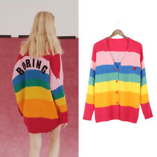Autumn Rainbow Cardigan Sweater Letter Print Striped Single-breasted Long Sleeve