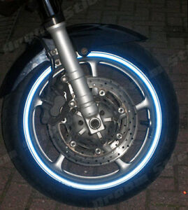 REFLECTIVE MOTORBIKE CAR BLUE WHEEL RIM TAPES DECALS  6mm OR 10mm MADE TO ORDER