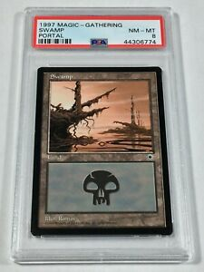 Graded Swamp A PSA 8 NM-MT Portal 1997 MTG Magic Card Vintage Pop 2 (1 Higher)!
