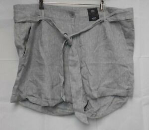 M&S Collection Grey Mix Linen Shorts size 22 NEW E14
