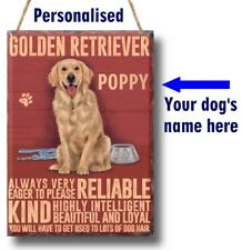 PERSONALISED Golden Retriever Dog Breed Plaque Sign gift ANY NAME wall vintage