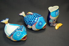 3PC Colorful FISH Costal Bathroom Ceramic Accessory Set