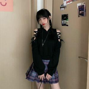 Kawaii Clothing Gothic Punk Cat Hoodie Sweatshirt Black Harajuku Ulzzang Lace-Up