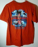Harley Davidson of Westminster California Surfing Orange T Shirt Sz L