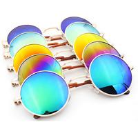 Cheap Round Vintage Retro Hippy Cyber Goggles Steampunk Mens Womens Sunglasses,
