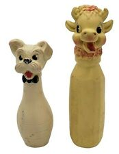 New listing Vintage Baby Squeak Toy Cow Head Baby Bottle Tall Dog Bow Tie Lot of 2 Toys