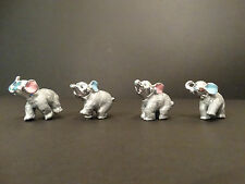 Set of 4 Silver & Grey color Elephants Ornaments Figure Small Size Perfect Gift
