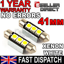2X AUDI A3 A4 A6 TT PURE WHITE 3 LED SMD 41MM CANBUS NUMBER PLATE BULBS