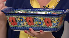 Lidia's Polish Pottery Hand Painted Loaf Pan Wild Poppies