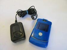 Motorola Razr v3 Bundle Unlocked Flip Mobile Cell Phone Silver w/ BlueCase