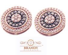 Brandy Diamond Chocolate Brown 10K Rose Gold Beautiful Halo Stud Earrings .69 Ct
