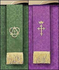 Jacquard Reversible Bookmark Purple and Green for Church Service NEW SKU LC025