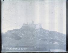 """Antique Vintage Glass Negative """"St Michaels Mount"""" Late 1800s 10.5cm x 8cm"""