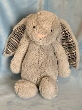 Jellycat Bashful Blake Grey Bunny Rabbit Stuffed Animal Striped Ears 12?
