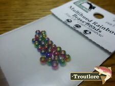 "25 PIECES MULTIHUED RAINBOW BRASS BEAD HEADS 1/8"" 3.2mm HARELINE NEW FLY TYING"