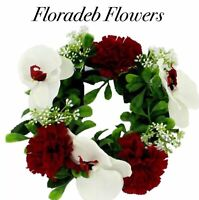 ARTIFICIAL SILK FLOWERS SMALL CARNATION & ORCHID WREATH IN IVORY & RED