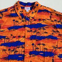 LULAROE Mens XL Tropical Island Print 100% Rayon Hawaiian Aloha Shirt Vacation