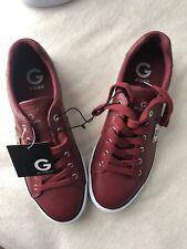 G by Guess Women's Lace Up Leather Sneakers Shoes Burgundy Sz 9. NWT