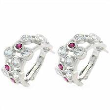 Sterling Silver Red & White CZ Half Hoop Bubble Earrings