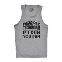 Mens Fitness Tank Official Firework Technician Tanktop Funny Fourth Of July Tee