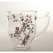 2er Teetassen, Becher, Glas, CHERRY BLOSSOM, 0,35L, transparent rosa, TeaLogic