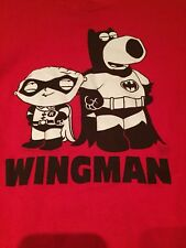 Family Guy Red Wingman Batman/Robin Stewie/Brian Costume Parody T-Shirt Small