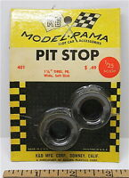 "1965 K&B Aurora 1:24 1:25 Slot Car Pit Stop Parts 1 1/8"" WIDE SLICK TIRES #401"