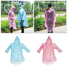 10Pcs Disposable Raincoat  Plastic Waterproof Camping Emergency Hooded Women/Men