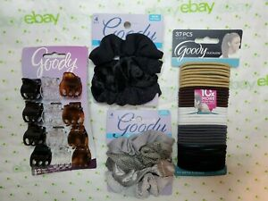 Goody Silver & Black Scrunchies Ouchless Elastics & Small Claw Clips Set