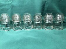 Lot of 6 Vintage  HEMINGRAY  # 9  Clear Glass Telegraph Insulators USA