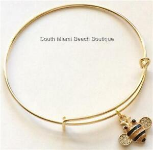 Gold Bumble Bee Charm Bracelet Adjustable Wire Crystal Bea Plated USA Seller