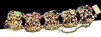 """Rare Vintage 7""""x1-1/2"""" Signed Hobe' Sterling Silver 1/20th 14kt Gold Bracelet M8"""