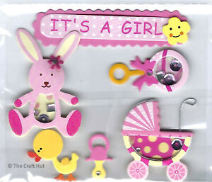 Trimits Craft Card Making Assorted Pink Baby Girl Embellishments C2093 New